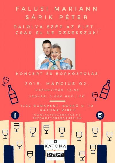 2018. március 02. 18:00 Falusi Mariann-Sárik Péter Koncert Budafoki pincénkben